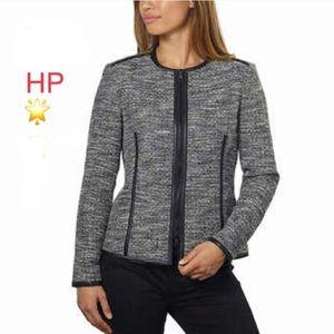 ✂️ Leather trimmed tweed blazer